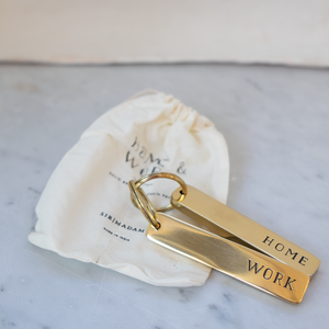 Home & Work Solid Brass Key Chain