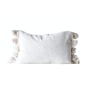 Cream Cotton Woven Slub Tassle Pillow