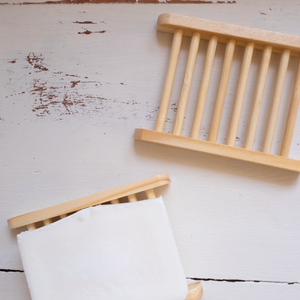 Natural Wide Slat Bamboo Soap Dish