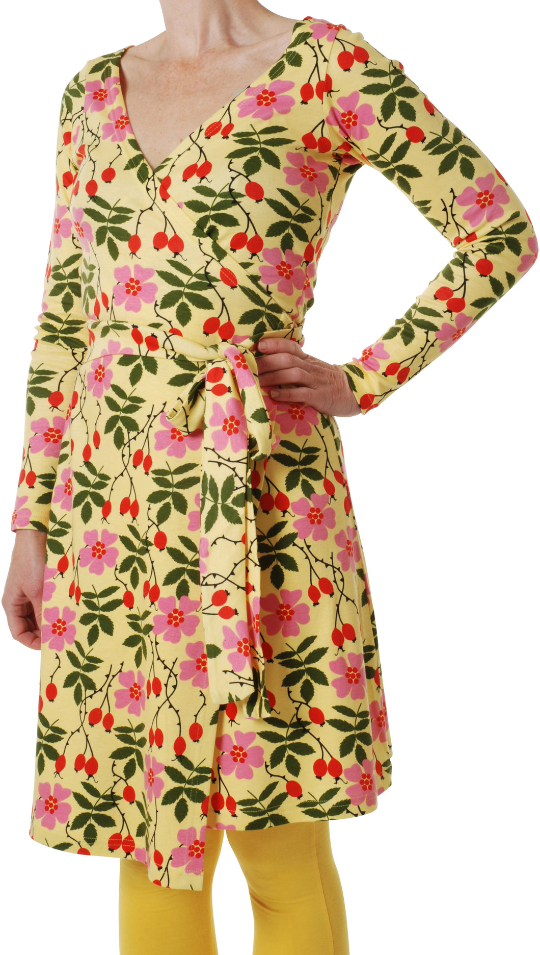 Duns - Rosehip Yellow - Long Sleeve Wrap Dress