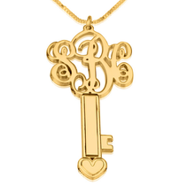 Load image into Gallery viewer, Initial Key Monogram Necklace