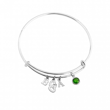 Load image into Gallery viewer, Bangle With Initials Heart And Birthstone