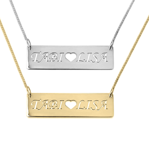 Bar Necklace with Two Cutout Names