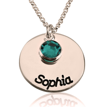 Load image into Gallery viewer, Birthstone Disc Necklace