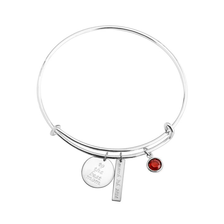 Charm Bangle With Engraved Circle, Rectangle And Birthstone