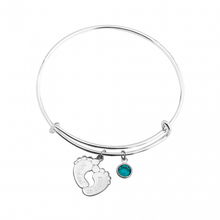 Load image into Gallery viewer, Charm Bangle with Feet and Birthstone