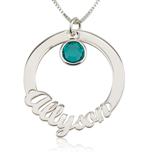 Load image into Gallery viewer, Circle Name Necklace with Swarovski