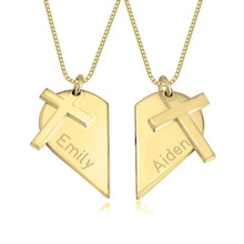 Load image into Gallery viewer, Couples Heart Necklace With Cross