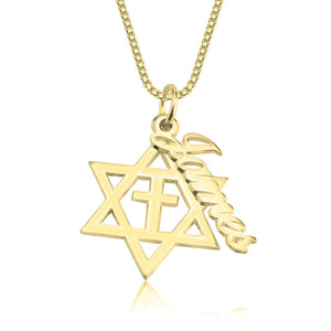 Cross and Star of David Name Necklace