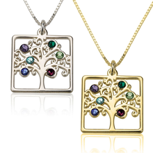 Load image into Gallery viewer, Cube Birthstone Family Tree Necklace