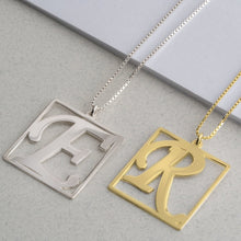 Load image into Gallery viewer, Cube Shape Initial Necklace