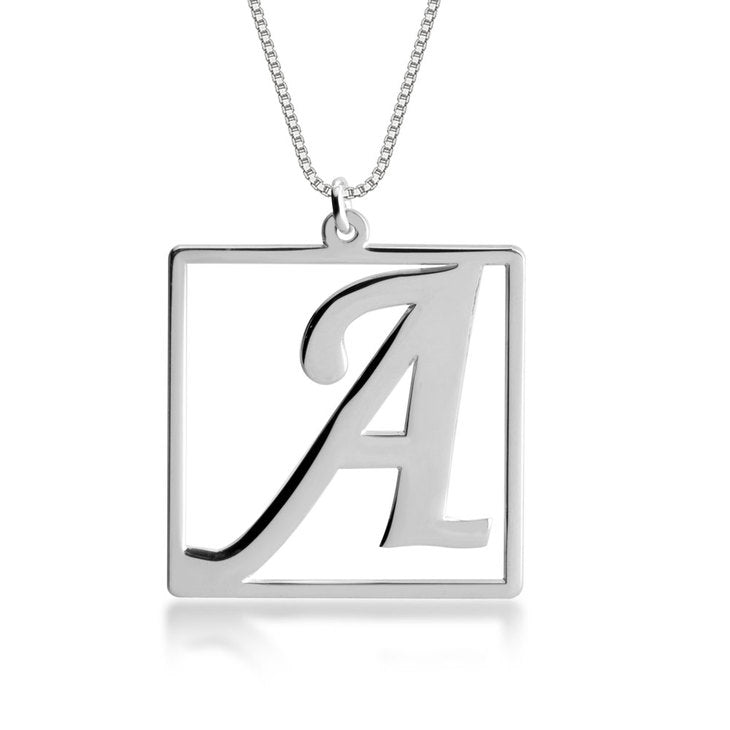 Cube Shape Initial Necklace