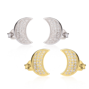CZ Half Moon Earrings