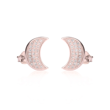 Load image into Gallery viewer, CZ Half Moon Earrings