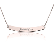 Load image into Gallery viewer, Curved Bar Necklace with Name