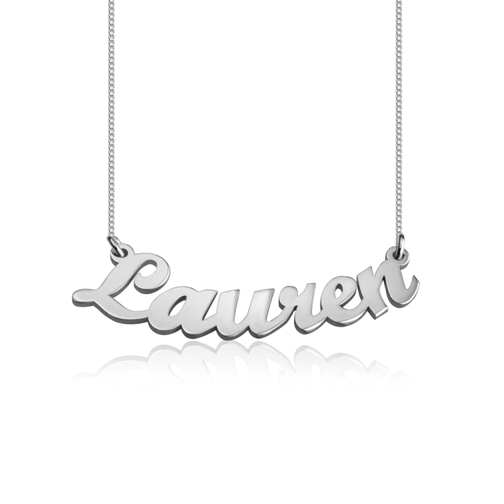 Curved Script Name Necklace