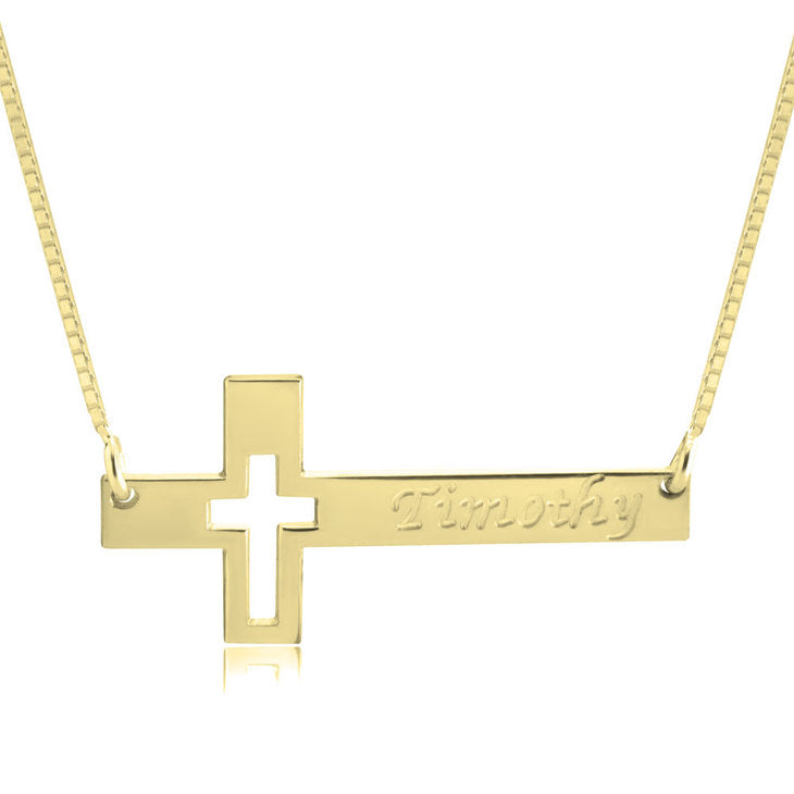 Cutout Engraved Cross Necklace