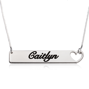 Cutout Heart Bar Necklace
