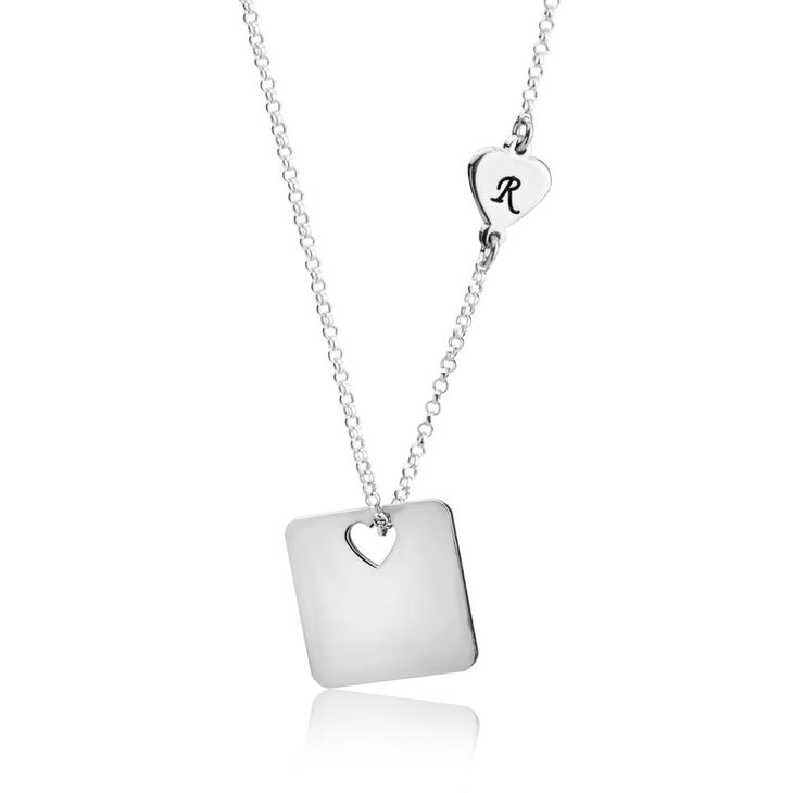 Cutout Heart Necklace with Initial