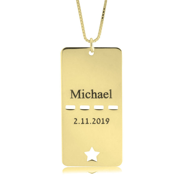 Dog Tag Name Date Necklace