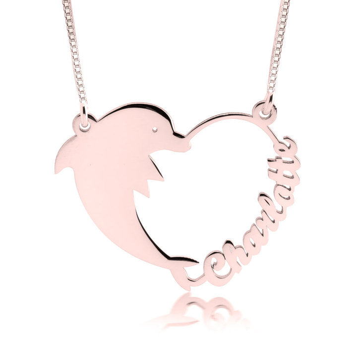 Dolphin Heart Name Necklace