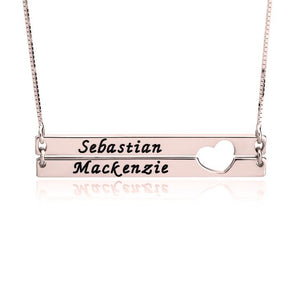 Double Bars with Heart Name Necklace