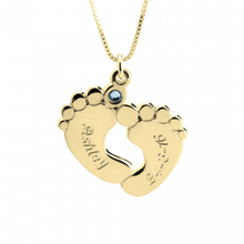 Load image into Gallery viewer, Engraved Baby Feet With Birthstone
