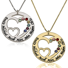 Load image into Gallery viewer, Engraved Birthstone Necklace for Mom