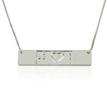 Load image into Gallery viewer, Engraved Friendship Bar Necklace Braille