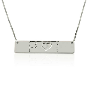 Engraved Friendship Bar Necklace Braille