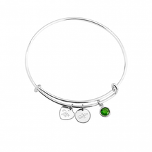 Load image into Gallery viewer, Engraved Heart and Circle Charm Bangle