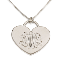 Load image into Gallery viewer, Engraved Heart Monogram Necklace
