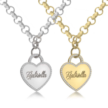 Load image into Gallery viewer, Engraved Heart Necklace With Cubic Zirconia