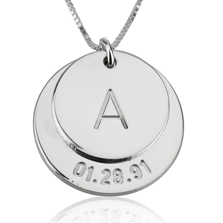 Engraved Initial and Date Necklace