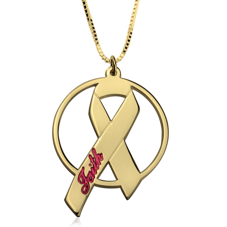 Engraved Name Breast Cancer Necklace