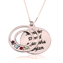 Load image into Gallery viewer, Engraved Name and Birthstone Mother's Necklace