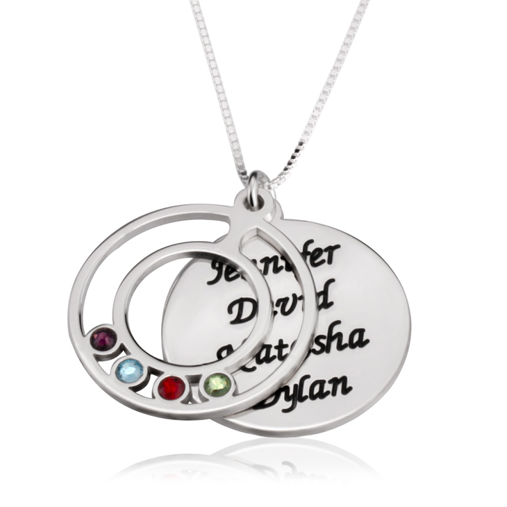 Engraved Name and Birthstone Mother's Necklace