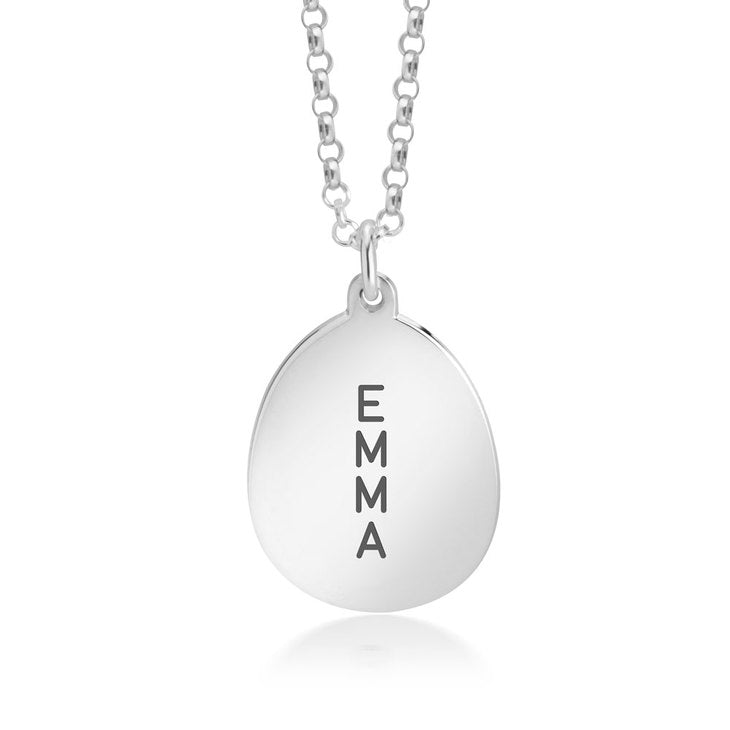 Engraved Oval Necklace