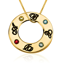 Load image into Gallery viewer, Family Initials Birthstone Necklace
