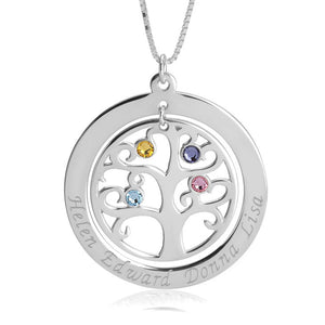 Family Tree Necklace with Birthstone