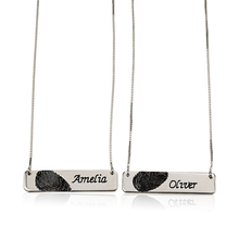 Load image into Gallery viewer, Fingerprint Couple Bar Necklace