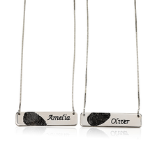 Fingerprint Couple Bar Necklace