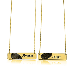 Fingerprint Couple Necklace in Gold
