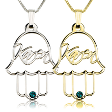 Load image into Gallery viewer, Hamsa Necklace with  Swarovski Birthstone