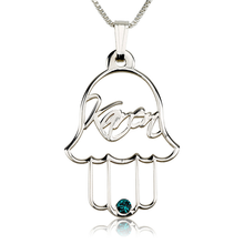 Load image into Gallery viewer, Hamsa Necklace with  Birth Stone