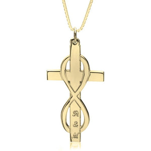 Infinity Cross Necklace With Initials