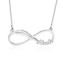 Load image into Gallery viewer, Infinity Feather Name Necklace