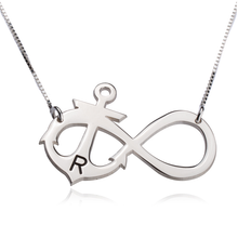 Load image into Gallery viewer, Initial Anchor Infinity Necklace