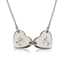 Load image into Gallery viewer, Linked Heart Initial Necklace