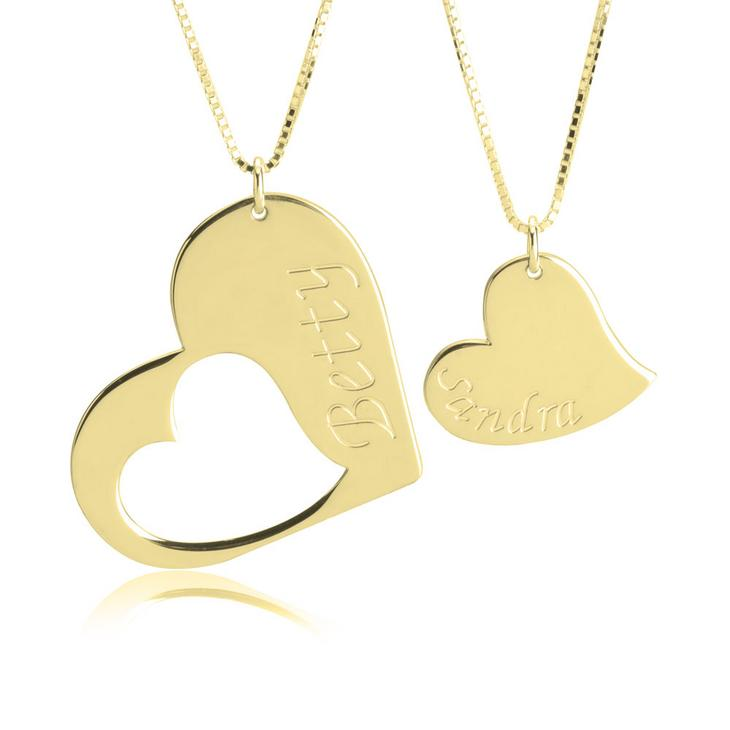 Mother Daughter Engraved Heart Necklace